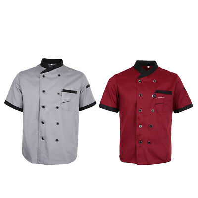 2Pcs Chef Jacket Tops Short Sleeve Restaurant Hotel Kichen Chef Uniform L