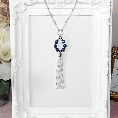 Vintage/flapper/1920's silver necklace with blue pearl beaded drop & tassel