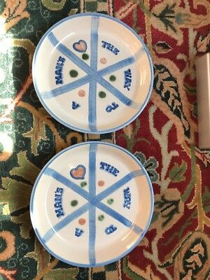 M.a. Hadley Pie Plates! The Way To A Man's Heart ~ Two! Heavy Pottery Pie Dish!!