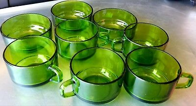 8pc set DURAX Emerald Green Glass cups and bowls VINTAGE RARE BEAUTIFUL