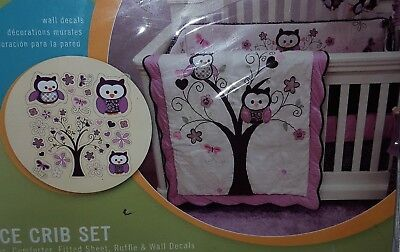 Plum and Purple Owl Meadow 4 Piece Baby Girl Crib Bedding Set by Baby's First