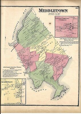 1870 Middletown, Ri. Map Removed From The Beers Atlas 0F 1870