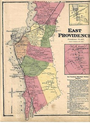 1870 East Providence, Ri. Map Removed From The Beers Atlas 0F 1870