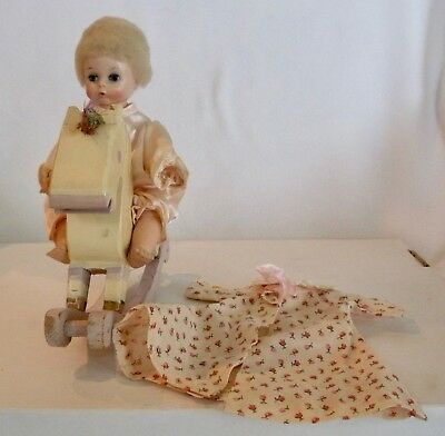 """Beautiful Vintage Madame Alexander 7"""" Little Genius Riding A Wood Hobby Horse"""