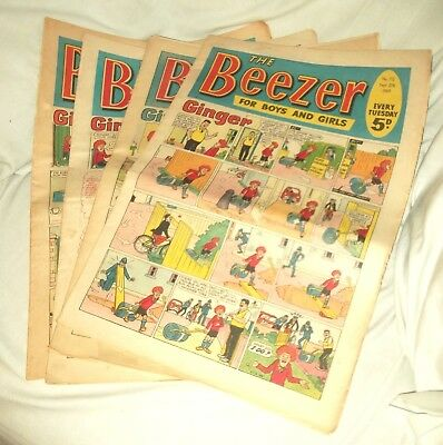 The Beezer.  1969.  4 Issues.  Good Condition.