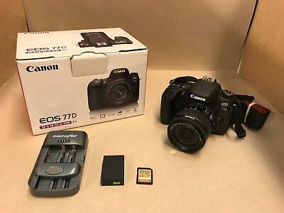 Canon EOS 77D Digital SLR Camera with 18-55mm Lens - Touchscreen Shtr Count 1406