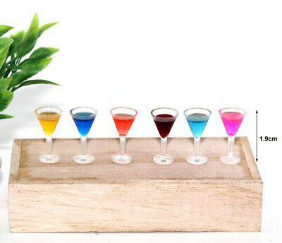 6 Dollhouse Miniature Colorful Wine Cocktail Glass Cup Goblet Bar Drinking 1:12