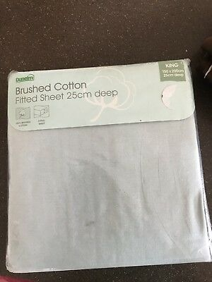 Dunelm Brushed Cotton Sky Blue Kingsize Fitted Sheet New In Packaging
