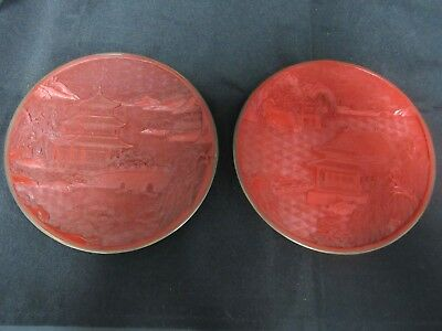 2 Beautiful Japanese Red Cinnabar Decorative Plate Carved Intricate Design