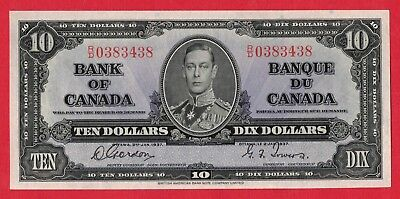 ✪ 1937 $10 Bank of Canada Note Gordon-Towers R/D Prefix 0383438 - AU Pressed