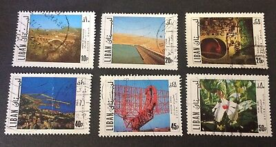 Lebanon 6 old used stamps