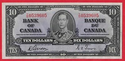 ✪ 1937 $10 Bank of Canada Note Gordon-Towers T/D Prefix 0539605 - AU Cleaned