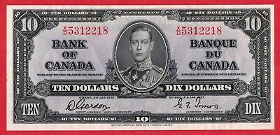 ✪ 1937 $10 Bank of Canada Note Gordon-Towers X/D Prefix 5312218 - AU/UNC Pressed