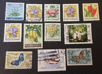 Lebanon 12 old used stamps