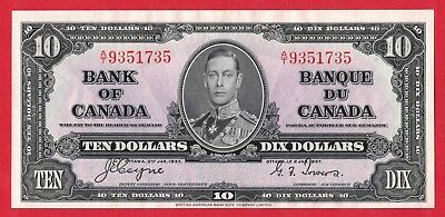✪ 1937 $10 Bank of Canada Note Coyne-Towers A/T Prefix 9351735 - AU Cleaned