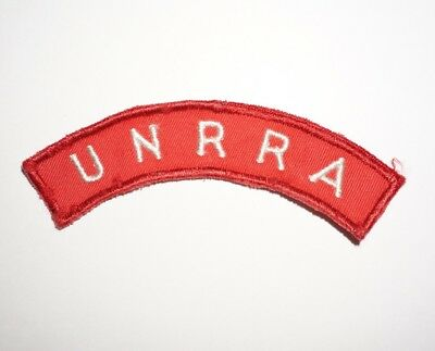 UNRRA United Nation Relief Agency Tab Patch WWII US Army P7861