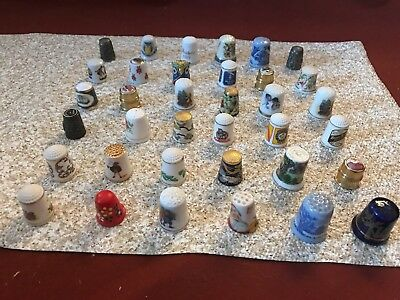 Lot of 45 Assorted Vintage Sewing Thimbles Porcelain Brass Holland, Portugal