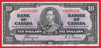 ✪ 1937 $10 Bank of Canada Note Coyne-Towers J/T Prefix 8076576 - AU Cleaned