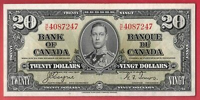✪ 1937 $20 Bank of Canada Note Coyne-Towers H/E Changeover Prefix - AU