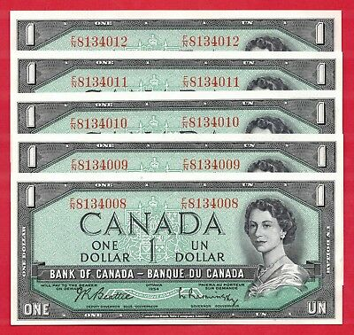 ✪ 5 Consecutive 1954 $1 Bank of Canada Notes F/N Changeover Prefix - Ch UNC