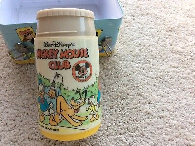 Vintage Aladdin DISNEY MICKEY MOUSE CLUB METAL LUNCHBOX & THERMOS, A Beauty!!