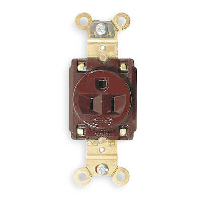 HUBBELL WIR Nylon/Reinforced PET Receptacle,Single,15A,5-15R,125V,Brown, HBL5261