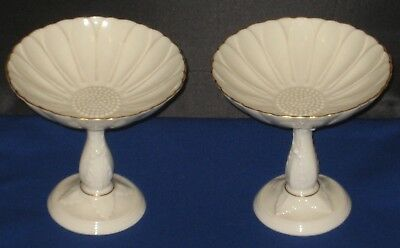 Pair Of Lenox Pedestal Compote Candy Nut Dish Daisy Sunflower 24K Gold Trim