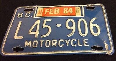Vintage 1984 BC Canada Motorcycle LICENSE PLATE  British Columbia L45-906