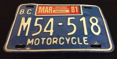 Vintage 1981 BC Canada Motorcycle LICENSE PLATE  British Columbia M54-518