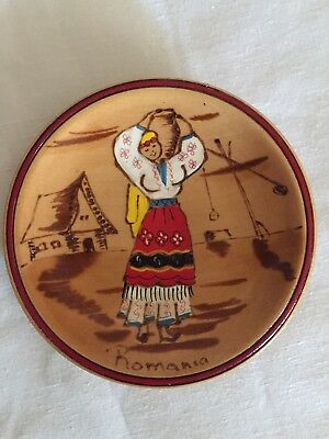 Vintage Romanian Wood Carved Hand Painted Plate • Wall Decor • 5 inches.