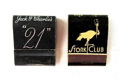 Vintage Matchbooks Stork Club Jack and Charlies Black 21 Club New York Matches