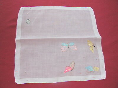Vintage Fine Madeira Pink Handkerchief w Colorful Embroidered Butterflies New