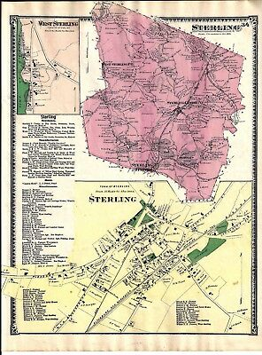 Vintage 1870 Sterling, Ma. Map That Was Removed From The Beer's 1870 Atlas