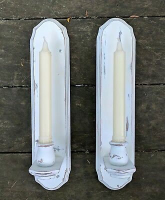 "Vintage Shabby Chic Wood Wall Candle Sconces French Country Cottage White 14"" Pr"