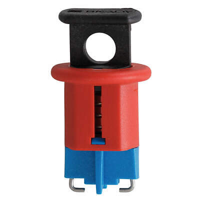 BRADY Nylon Breaker Lockout,Mini,Pin In,Pushbutton, 90847, Red
