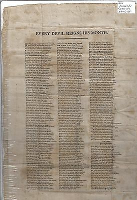 """Early Broadside. """"every Devil Reigns His Month.""""  18 By 11.5 Inches, No Date"""