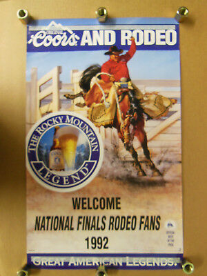 """vtg. Coors NATIONAL FINALS RODEO 1992 Tour POSTER  - 17 1/2"""" x 28"""""""