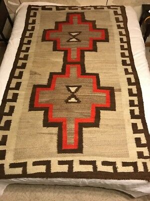 """Vintage Hand Woven Navajo Rug 48"""" x 80"""" Good Condition c. 1930 Lazy Lines"""