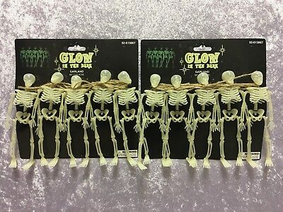 TWO Packages Glow In The Dark Skeleton Garland Halloween ADDITIONAL SHIPS FREE
