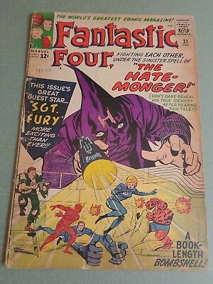 Fantastic Four #21 (1964 Marvel) 1st app of the Hate Monger Sgt Fury 2.0