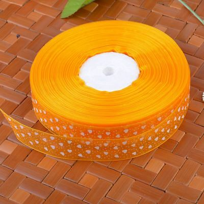 Sheer Organza Hearts Ribbon 25mm Embroidered Trim Party Sewing Yellow 10Yards