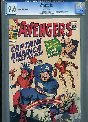 Avengers 4 CGC 9.6 GRR Golden Record Reprint Captain America only 1 at 9.8 WOW!
