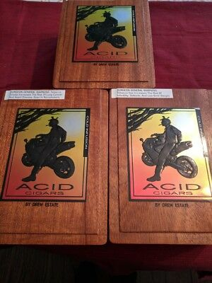 3 Wooden Acid Cold Infusion Cigar Boxes, Drew Estate Motorcycle Art Inside & Out