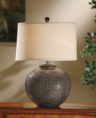 Crestview Hammered Ceramic Pot Table Lamp in Taupe Washed Finish CVAP1256