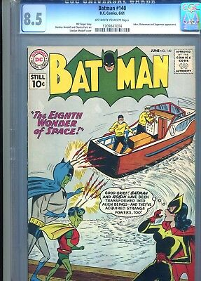 Batman 140 CGC 8.5 Off White to WHITE pages Joker and Superman appearances! 1961