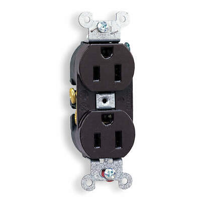 HUBBELL WIRING DEVICE-KELLEMS Nylon Receptacle,Duplex,15A,5-15R,125V,Brown, CR15