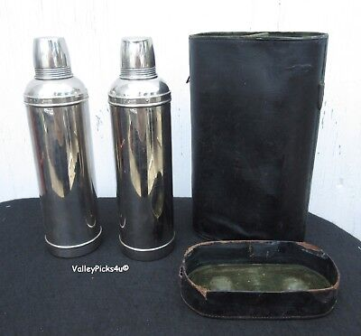 Vintage Chrome THERMOS Set Made in London w Leather Case ~ Picnic Coffee Tea