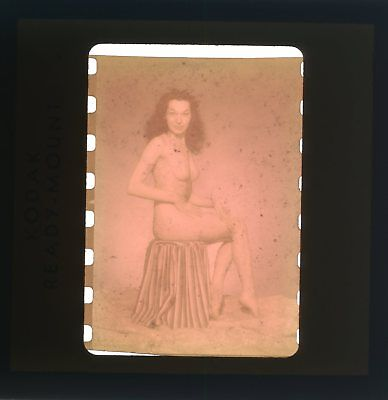 VINTAGE 1940's NUDE BRUNETTE PINUP GIRL ON STOOL 35mm PHOTO SLIDE NU-021