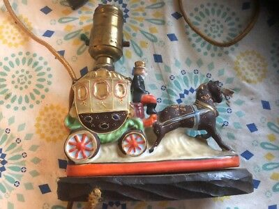 ANTIQUE 19th Century LAMP PORCELAIN FIXTURE OF CARRIAGE, Hand Painted
