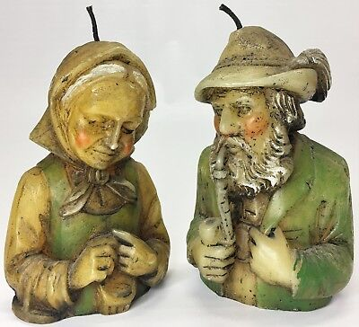 Pair Vintage Old World Style German Countryside Couple Detailed Wax Candle Busts